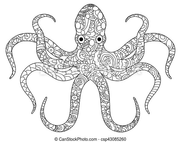 Octopus coloring book for adults vector. Octopus sea animal coloring ...
