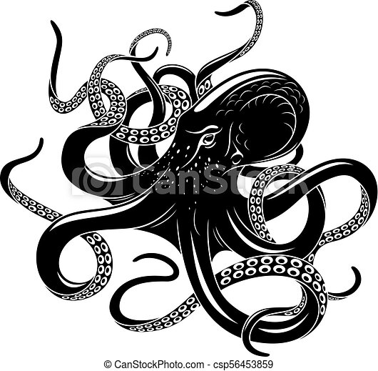 octopus icon for sea monster tattoo design octopus black