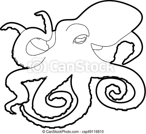 octopus icon outline octopus icon in outline style isolated rh canstockphoto com