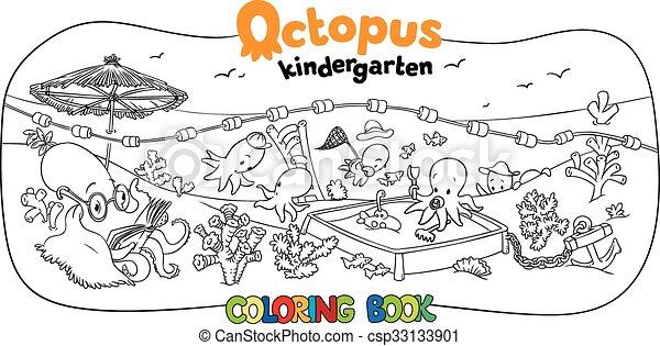 octopus kindergarten coloring book csp33133901 - Kindergarten Coloring