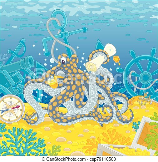 Octopus pirate with a map of a treasure island - csp79110500
