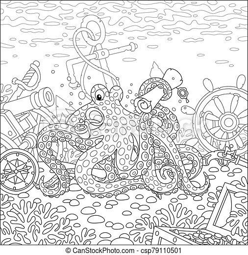 Octopus pirate with a map of a treasure island - csp79110501