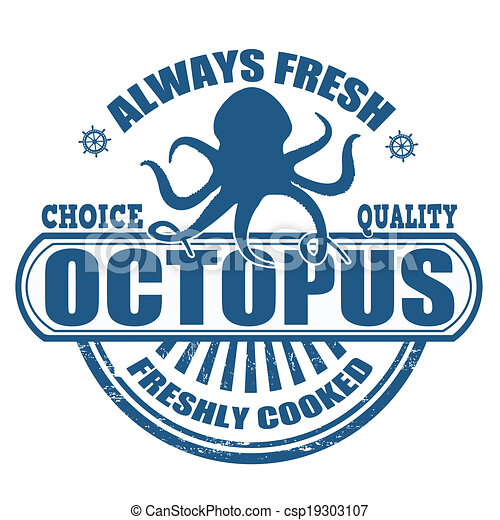 Octopus Stamp Grunge Rubber With The Text Written