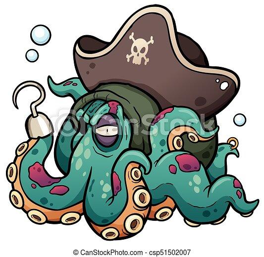 vector illustration of cartoon pirate octopus vector clipart rh canstockphoto com octopus vector file octopus vector logo