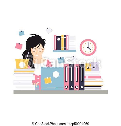 ocupado, computador, escritório, trabalhando, sentando, executiva, personagem, jovem, ilustração, laptop, momento, vetorial, escrivaninha, empregado - csp50224960