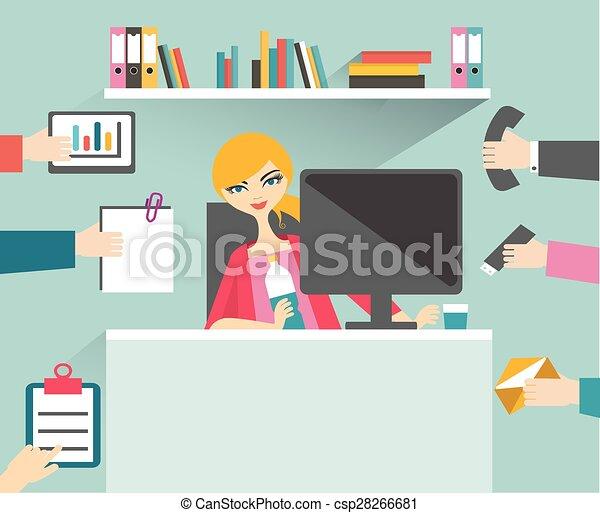 Secretaria ocupada manejando su trabajo con sonrisa y relajación. - csp28266681