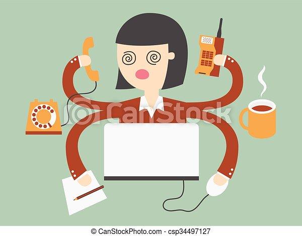 Una mujer ocupada - csp34497127