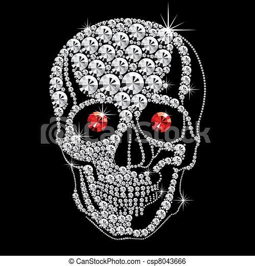oczy, diament, czaszka, czerwony - csp8043666