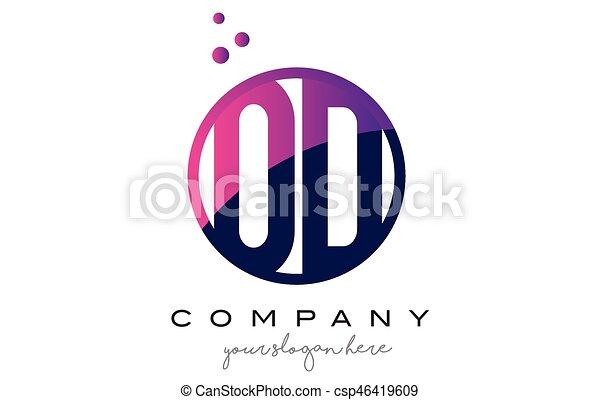 od o d circle letter logo design with purple dots bubbles csp46419609