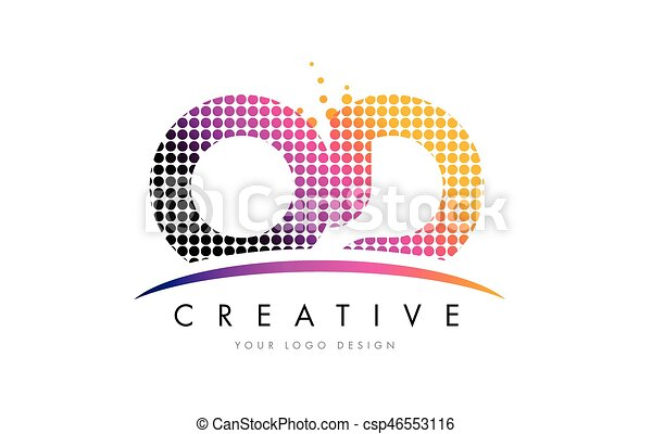 od o d letter logo design with magenta dots and swoosh csp46553116