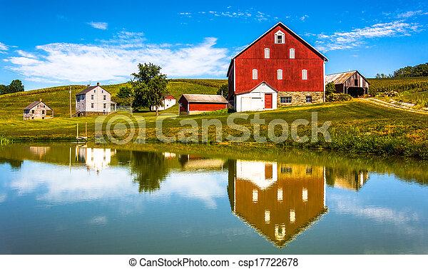 odbicie, dom, pennsylvania., york, hrabstwo, mały, wiejski, staw, stodoła - csp17722678