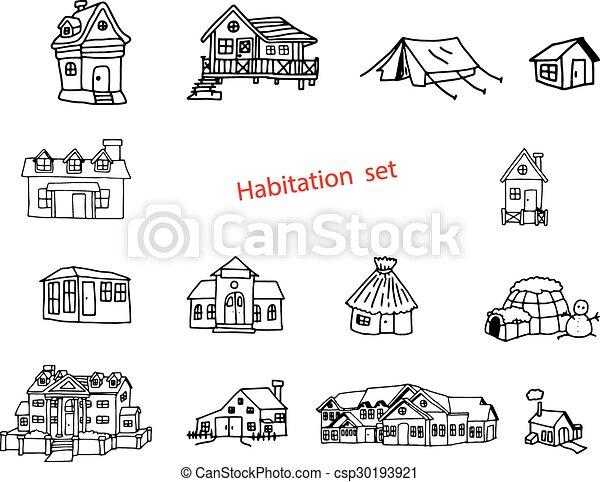 Illustration Vektor Doodles Hand gezeichnet von Bewohnung oder Resident. - csp30193921