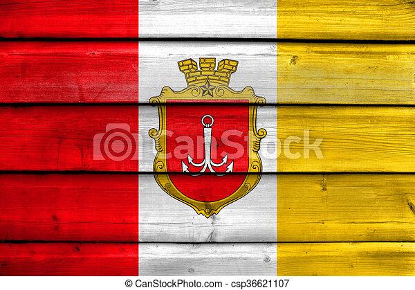 Flagge Von Odessa Gemalt Auf Alten Holzplanken Hintergrund