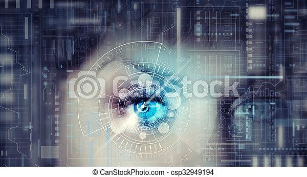 Femme digitale infographie chiffrée