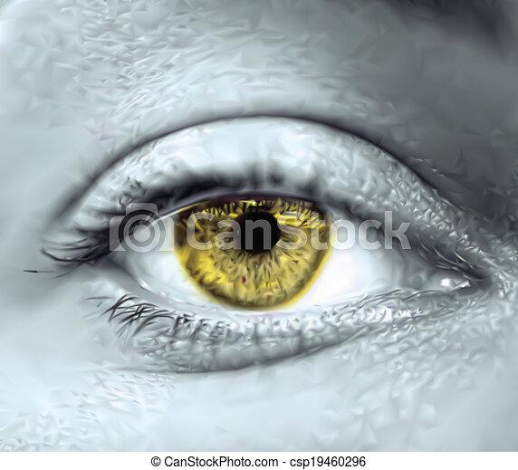 oeil, vecteur, macro., jaune, femme - csp19460296