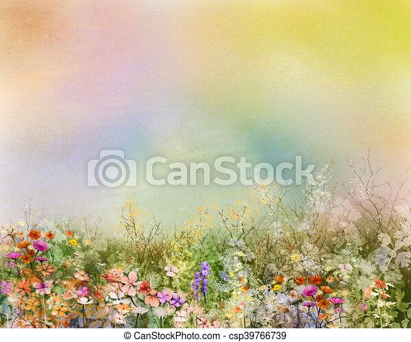 Oel, kornblume, lã¶wenzahn, lila, felder, wildflower, gemälde, blume ...