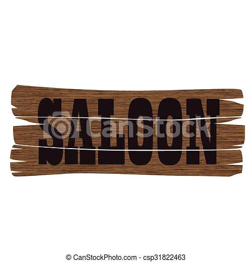 El letrero de la taberna oeste - csp31822463