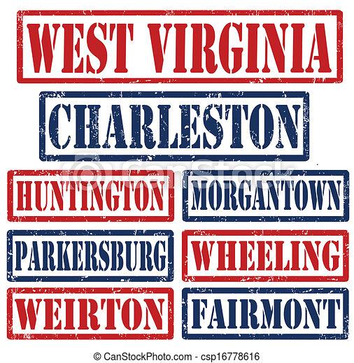 oeste, selos, cidades, virgínia - csp16778616
