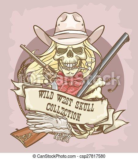 oeste selvagem, cranio, etiqueta - csp27817580