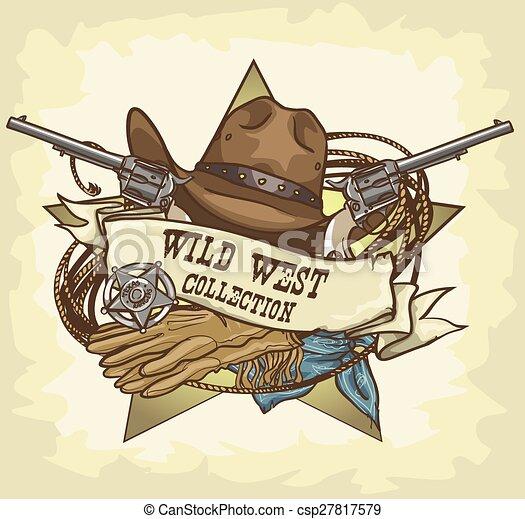 oeste selvagem, etiqueta - csp27817579