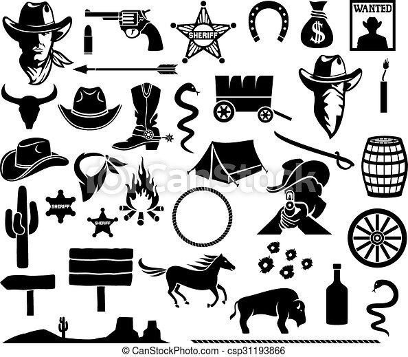 oeste selvagem, jogo, ícones - csp31193866