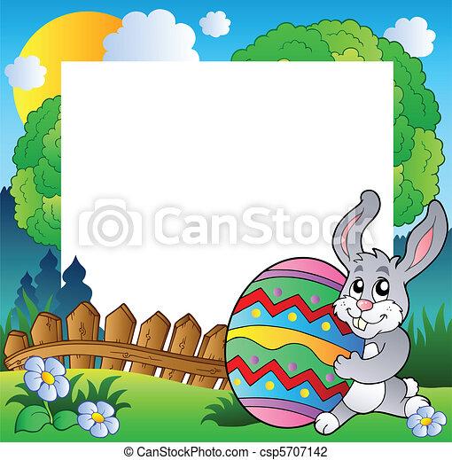 oeuf, cadre, lapin pâques, tenue - csp5707142