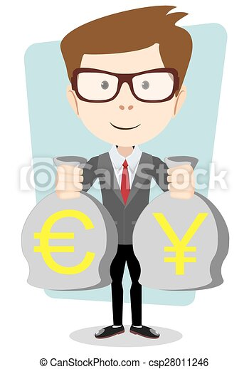 Of A Happy Young Cartoon Businessman With Bag Full Money Euro