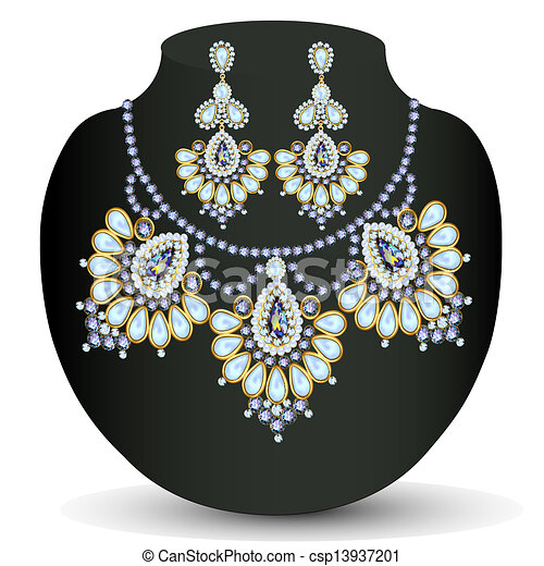 of a necklace and earrings with pearls - csp13937201