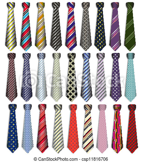 of a set of male business ties on a white background - csp11816706