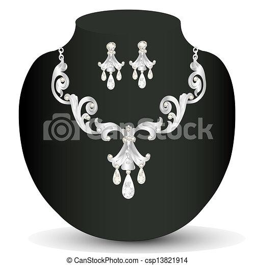 of a silver necklace women's wedding - csp13821914
