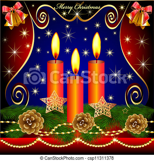 of christmas background with candles cones - csp11311378