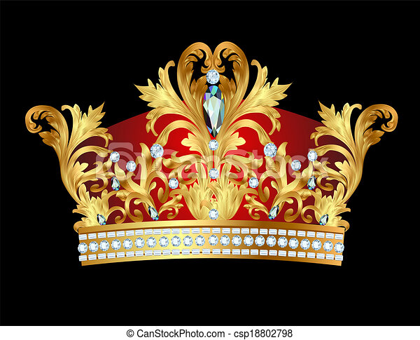 of royal gold crown with jewels - csp18802798