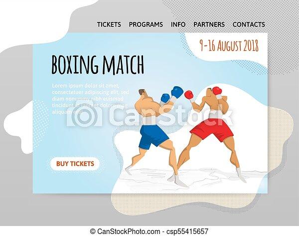 of, spandoek, vuistvechters, mal, illutration, sportende, boxing, header, poster., twee, vector, ontwerp, match., bouwterrein, vecht - csp55415657