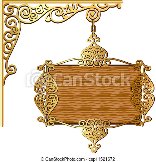 of the Board forged gold ornament for posts - csp11521672