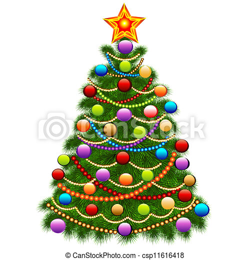 How To Decorate A Christmas Tree With Balls Mesmerizing Illustration Of The Christmas Tree Decorated With Balls And 2018
