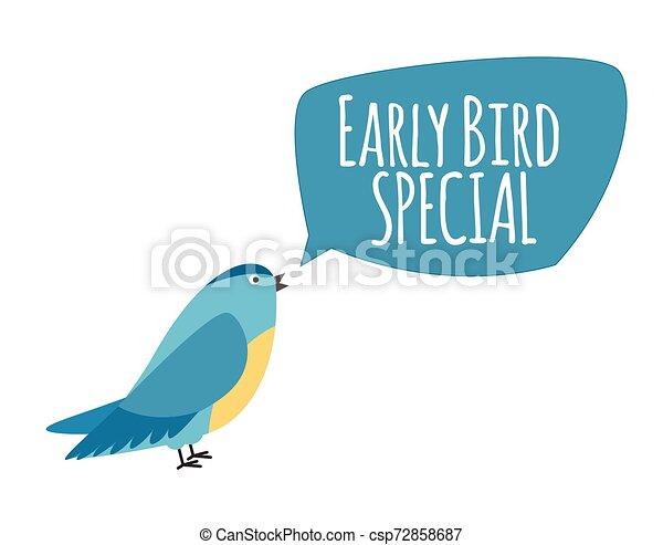 Pájaro con burbuja de habla. El concepto especial de promoción de aves tempranas. Ilustración de vectores - csp72858687