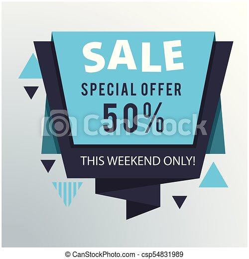 Oferta especial de venta 50% imagen vectorial origami - csp54831989
