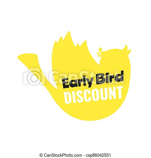 oferta, pájaro, especial, descuento, plano, estilo, illustration., acontecimiento, bandera, vector, temprano, venta, diseño - csp86042551