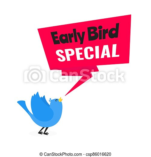 oferta, pájaro, especial, descuento, plano, estilo, illustration., acontecimiento, bandera, vector, temprano, venta, diseño - csp86016620