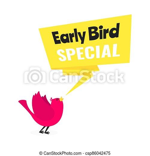 oferta, pájaro, especial, descuento, plano, estilo, illustration., acontecimiento, bandera, vector, temprano, venta, diseño - csp86042475