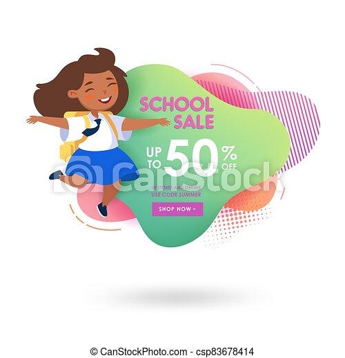 oferta, student., pupil., niña, publicidad, estilo, feliz, descuento, lindo, venta, memphis, escuela, caricatura, de, bandera - csp83678414