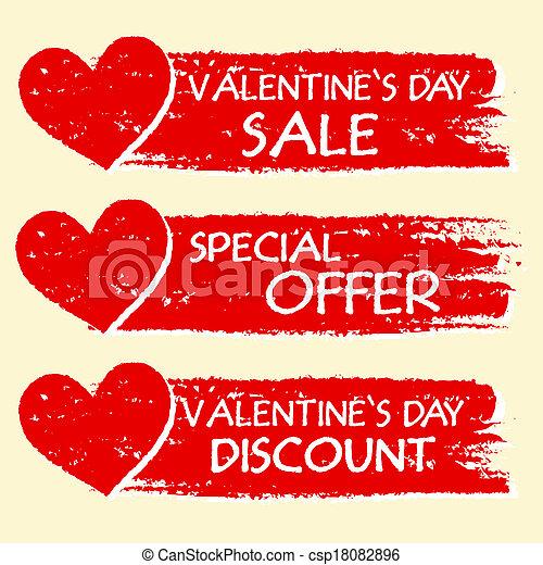 oferta, texto, valentines, -, venda, desconto, três, especiais, corações, desenhado, bandeiras, dia, vermelho - csp18082896