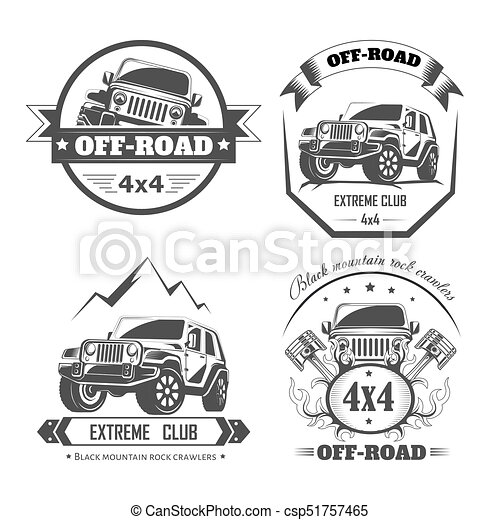 Off-road 4x4 extreme car club logo templates. Vector symbols - csp51757465
