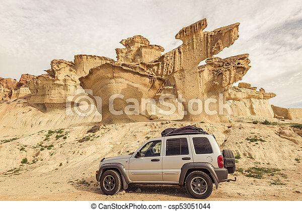 Off road car in desert, road trip concept. - csp53051044