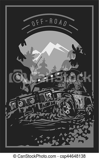 Off-road car logo, mud terrain suv, expedition offroader. - csp44648138
