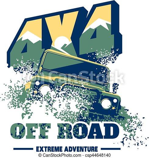 Off-road car logo, safari suv, expedition offroader. - csp44648140