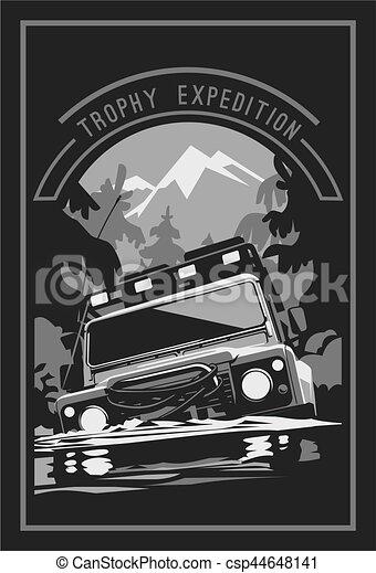 Off-road car logo, safari suv, expedition offroader. - csp44648141