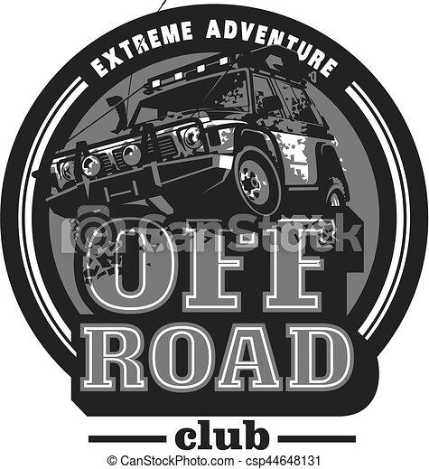 Off-road car logo, safari suv, expedition offroader. - csp44648131