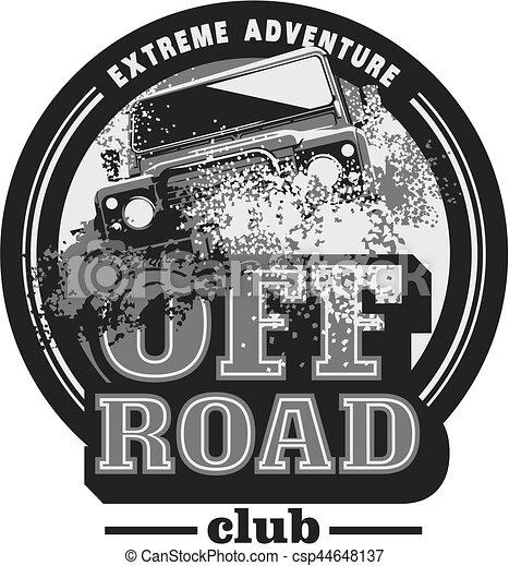 Off-road car logo, safari suv, expedition offroader. - csp44648137