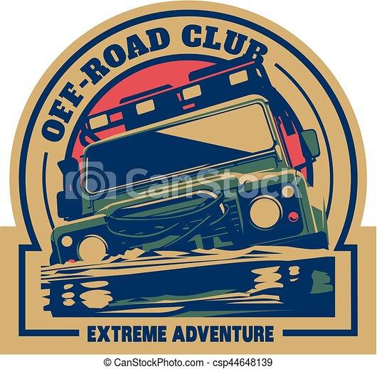 Off-road car logo, safari suv, expedition offroader. - csp44648139